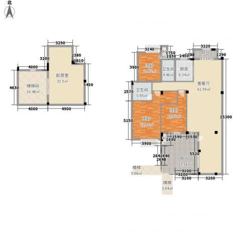 春江花园3室1厅2卫1厨249.00㎡户型图