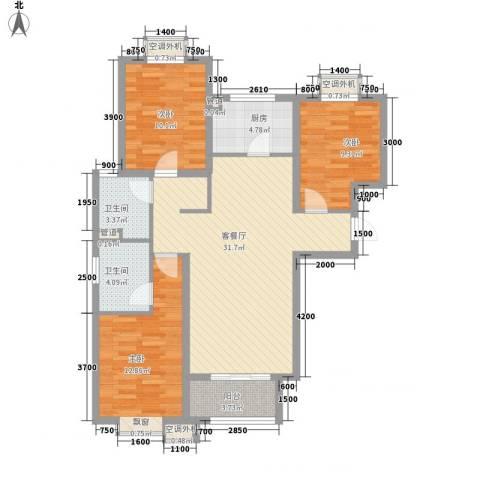 自考办家属院3室1厅2卫1厨118.00㎡户型图