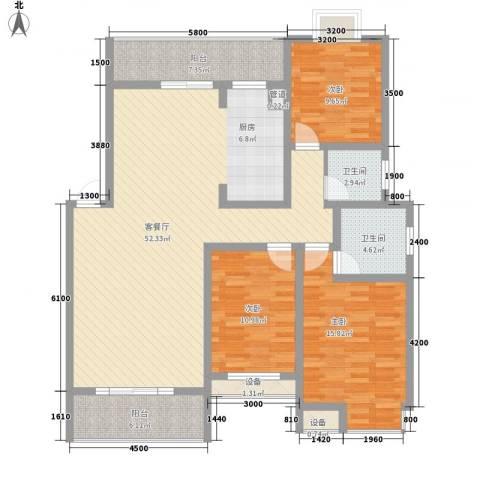 盛世家园3室1厅2卫0厨127.00㎡户型图