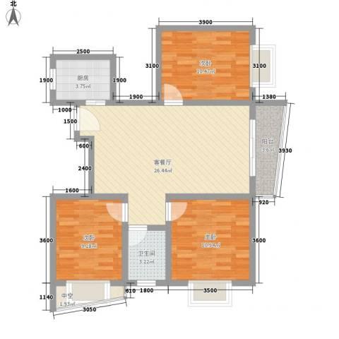 山水兰庭3室1厅1卫1厨92.00㎡户型图
