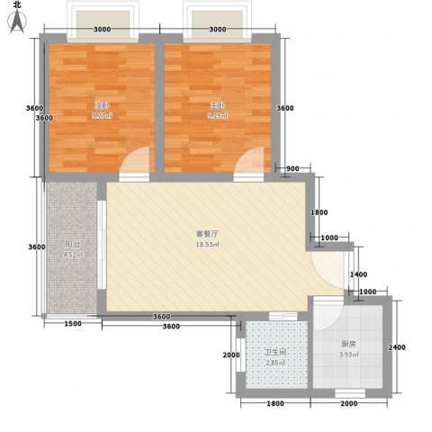山水兰庭2室1厅1卫1厨65.00㎡户型图