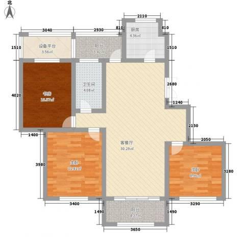 凯运天地水岸华邑3室1厅1卫1厨119.00㎡户型图