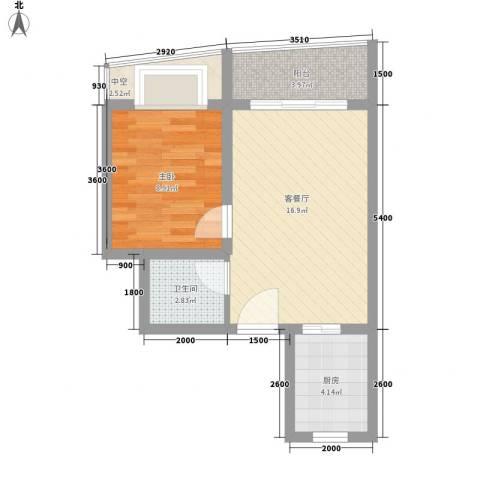 山水兰庭1室1厅1卫1厨49.00㎡户型图