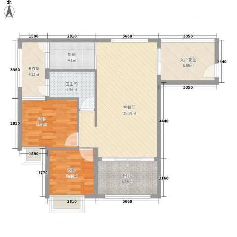 天山丽田2室1厅1卫1厨96.00㎡户型图