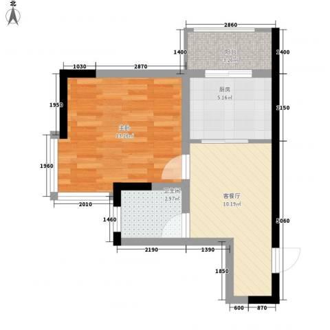 标点1室1厅1卫1厨56.00㎡户型图