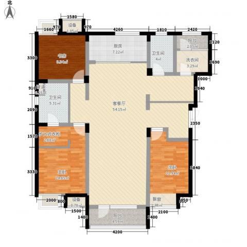 紫荆花园3室1厅2卫1厨119.42㎡户型图