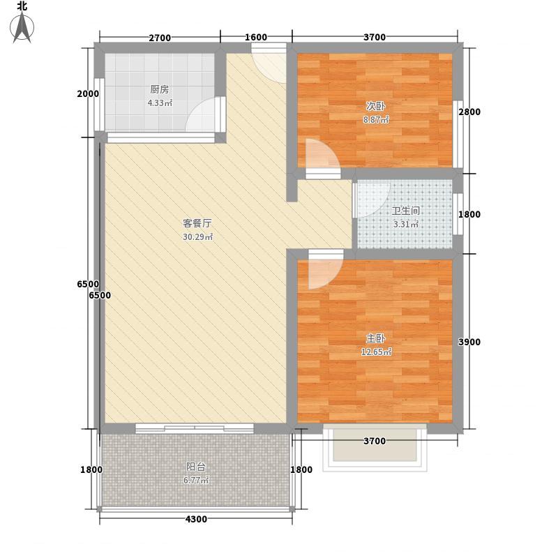 御景桃源山庄8.40㎡F3户型2室2厅1卫1厨