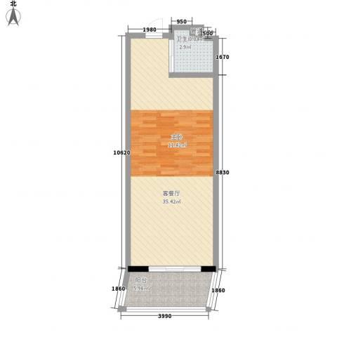 克拉码头1厅1卫0厨66.00㎡户型图