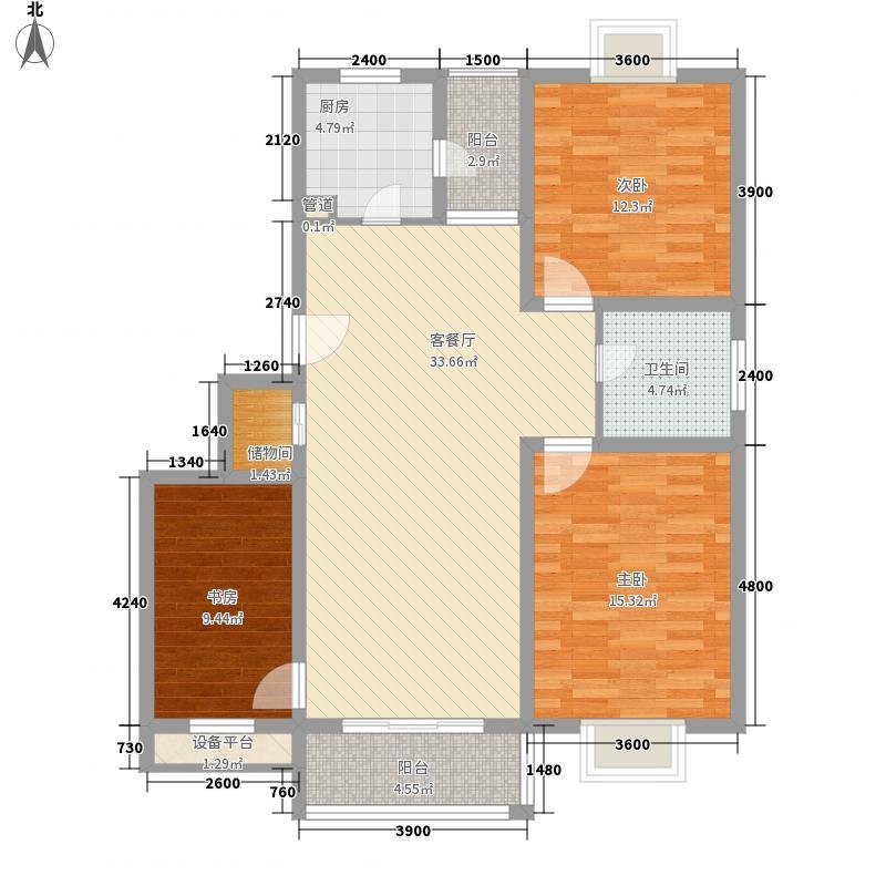 金大陆上东城108.37㎡金水湾花园户型图3室2厅1卫1厨户型10室