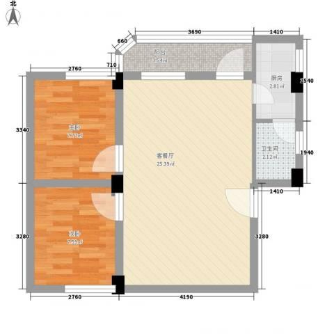 纵横白领公寓2室1厅1卫1厨73.00㎡户型图