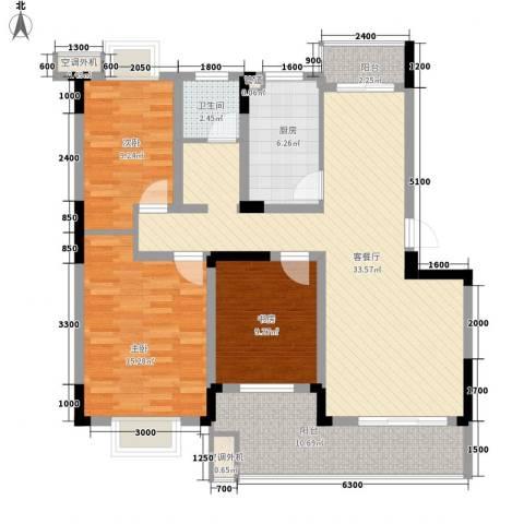 铂领公寓小区3室1厅1卫1厨111.00㎡户型图