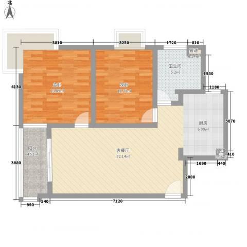 虹叶茗园2室1厅1卫0厨97.00㎡户型图
