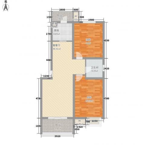 伯爵山庄2室1厅1卫1厨92.00㎡户型图