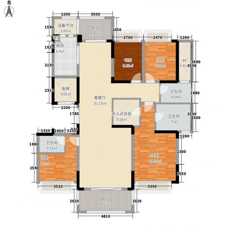 新华御湖庄园174.00㎡平层官邸户型4室2厅3卫1厨