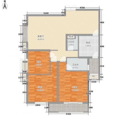 宫园壹号3室1厅2卫1厨150.00㎡户型图