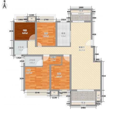 东投阳光城4室1厅2卫1厨140.00㎡户型图