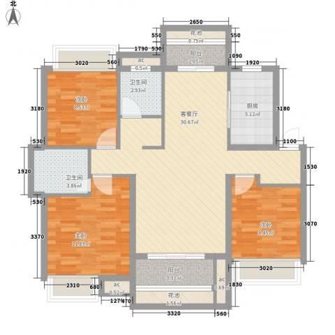 东投阳光城3室1厅2卫1厨120.00㎡户型图