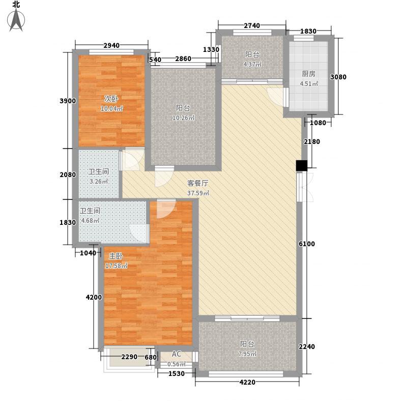 格兰小镇120.00㎡01栋洋房B户型2-2-2户型2室2厅2卫