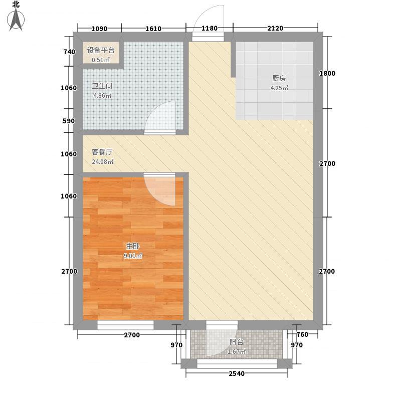 长鹭晶品枫林58.46㎡长鹭晶品枫林1室户型1室