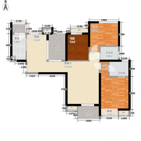中海观园3室1厅2卫1厨128.00㎡户型图
