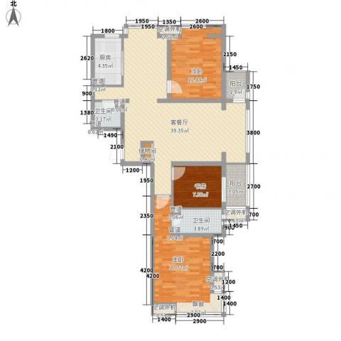 中基礼域3室1厅2卫1厨134.00㎡户型图