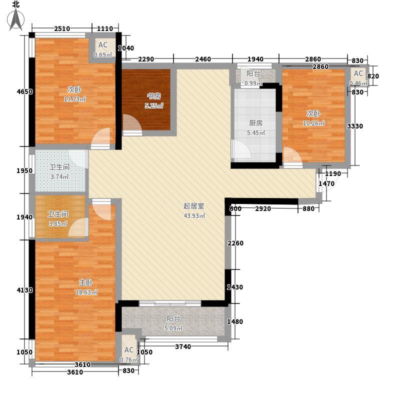 云星钱隆首府134.00㎡10号楼1/2单元01户型4室2厅2卫1厨
