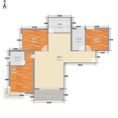 宝丰绿洲3室1厅2卫1厨128.00㎡户型图