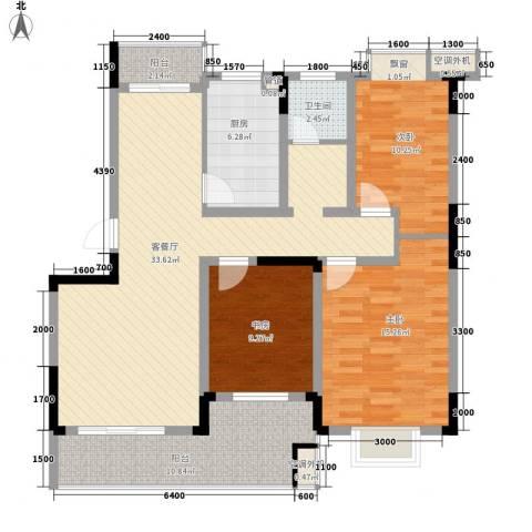 铂领公寓小区3室1厅1卫1厨106.00㎡户型图