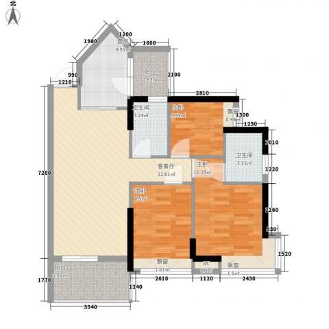 可逸豪苑3室1厅2卫1厨98.00㎡户型图