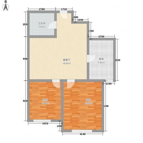 新伟庭院2室1厅1卫1厨110.00㎡户型图