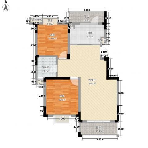 铂领公寓小区2室1厅1卫1厨93.00㎡户型图