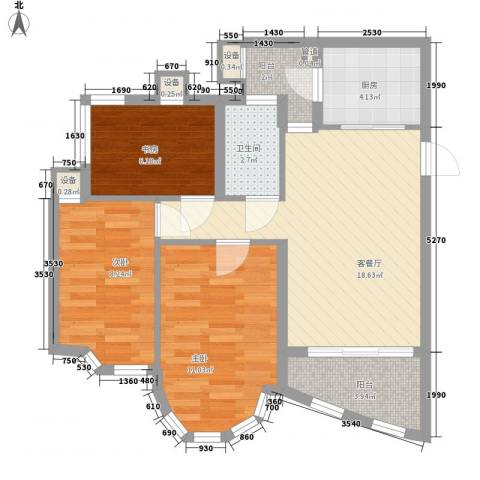 祈福新村绿怡居3室1厅1卫1厨82.00㎡户型图