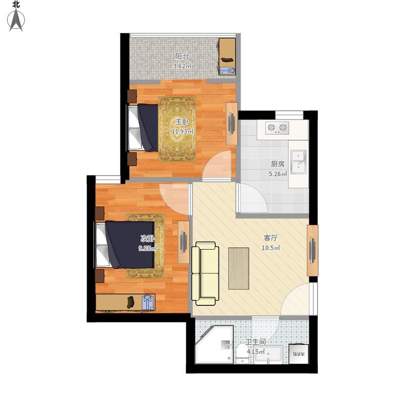 华龙美晟60平米设计图