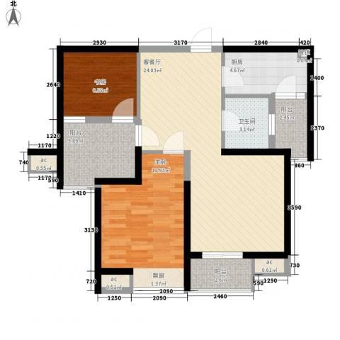 中海观园2室1厅1卫1厨94.00㎡户型图