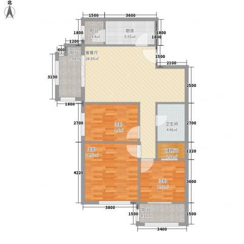 星河城三期3室1厅1卫1厨117.00㎡户型图