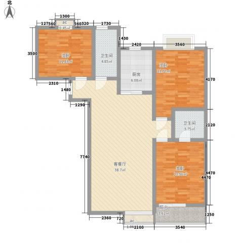 城西印象3室1厅2卫1厨126.00㎡户型图