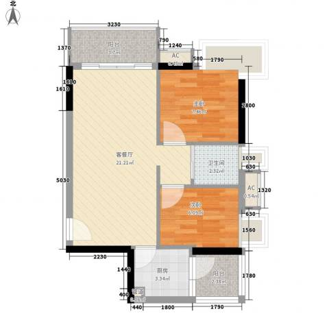 布宜诺斯2室1厅1卫1厨69.00㎡户型图