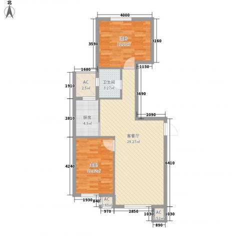 甘井子安邦阳光润城2室1厅1卫1厨98.00㎡户型图