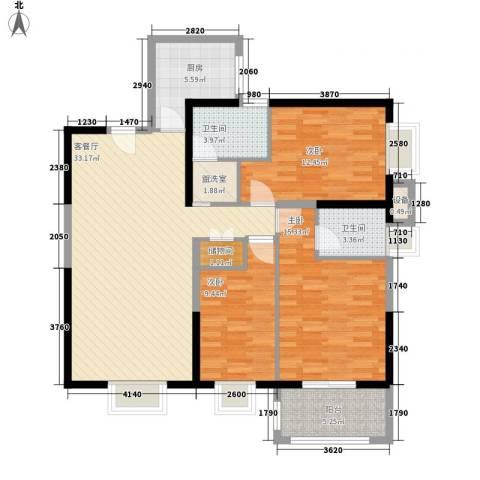 黄金屋3室1厅2卫1厨107.00㎡户型图