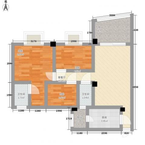 碧桂园荔园3室1厅2卫1厨71.00㎡户型图