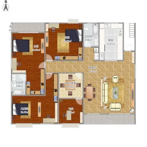天湖城天源4室1厅2卫1厨222.00㎡户型图