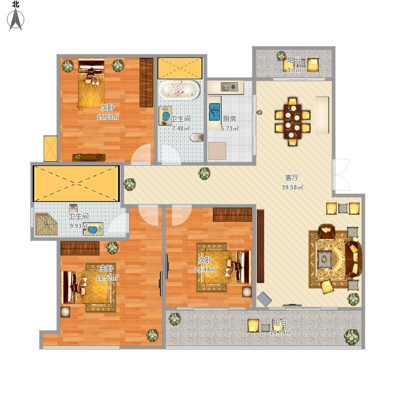 中都沁园3室2厅2卫·133.61M²·130.43·143.08·140.05