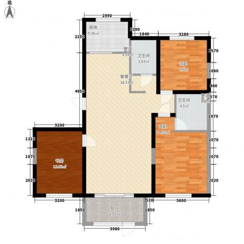 中冶蓝城3室1厅2卫1厨134.00㎡户型图