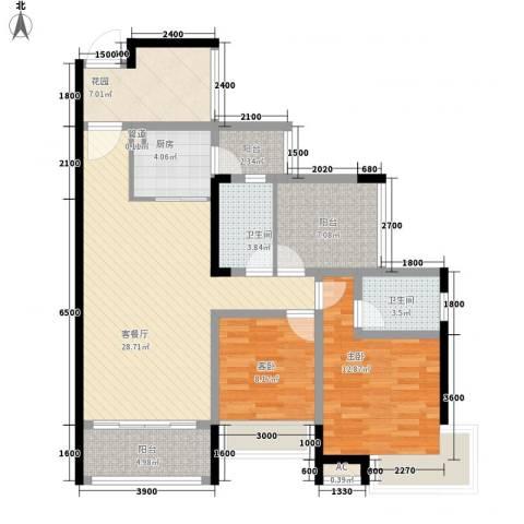 茶山富盈香茶郡2室1厅2卫1厨102.00㎡户型图