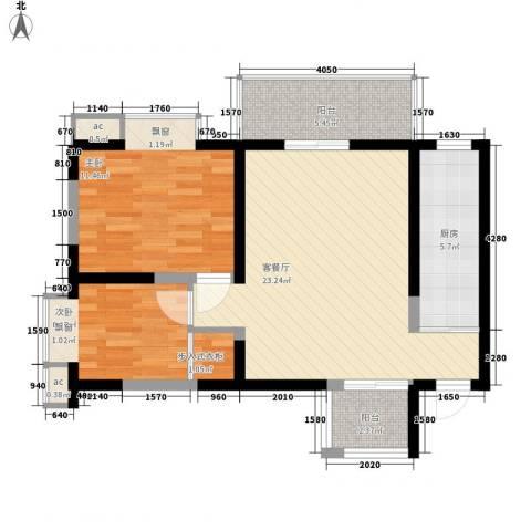 苏格兰风笛2室1厅0卫1厨84.00㎡户型图
