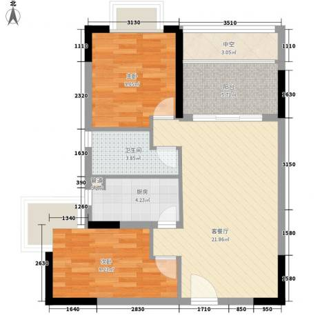 合兴福邸2室1厅1卫1厨74.00㎡户型图