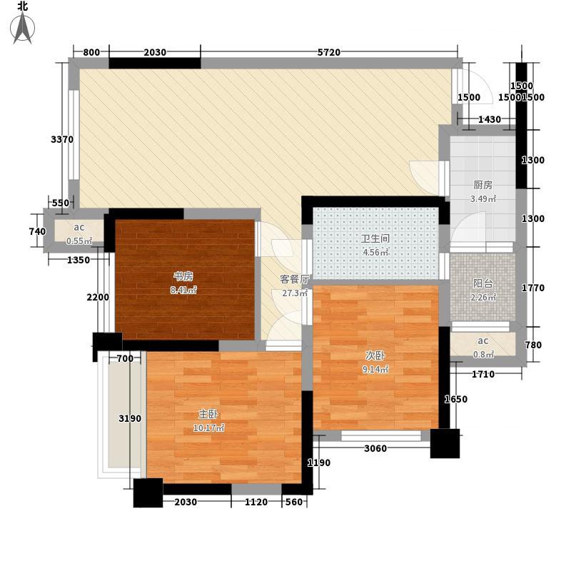 中成主角一期1栋1单元A5户型3室2厅1卫1厨