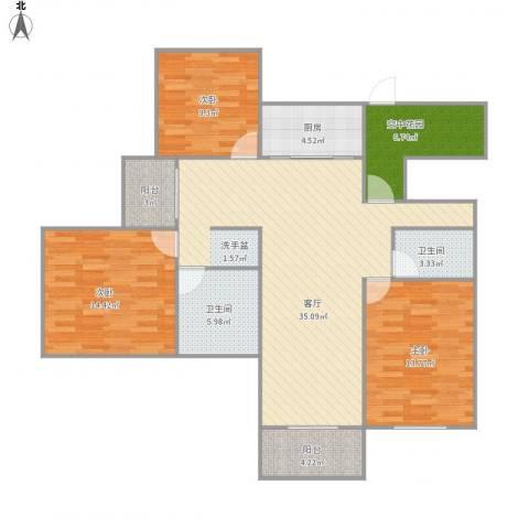270131旭辉朗香郡3室1厅2卫1厨134.00㎡户型图