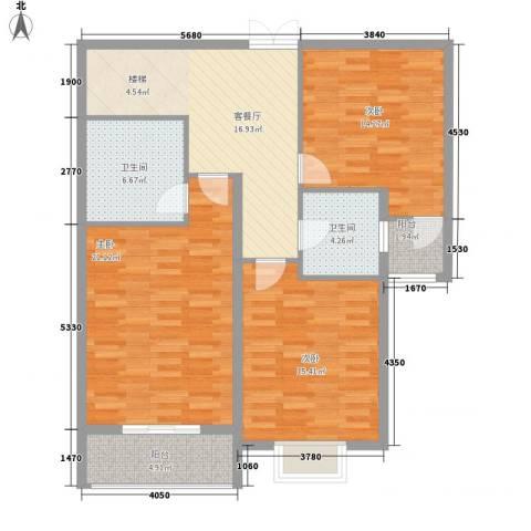 黄浦众鑫城3室1厅2卫0厨159.00㎡户型图