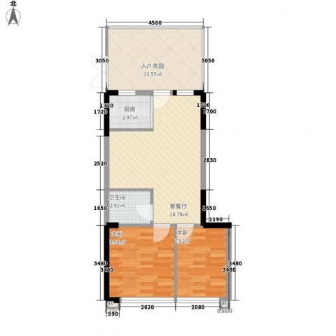 雪梨澳乡2室1厅1卫1厨54.87㎡户型图